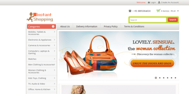 E Commerce website Design Of Instant Shopping Network
